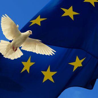 pomba da paz e bandeira união europeia